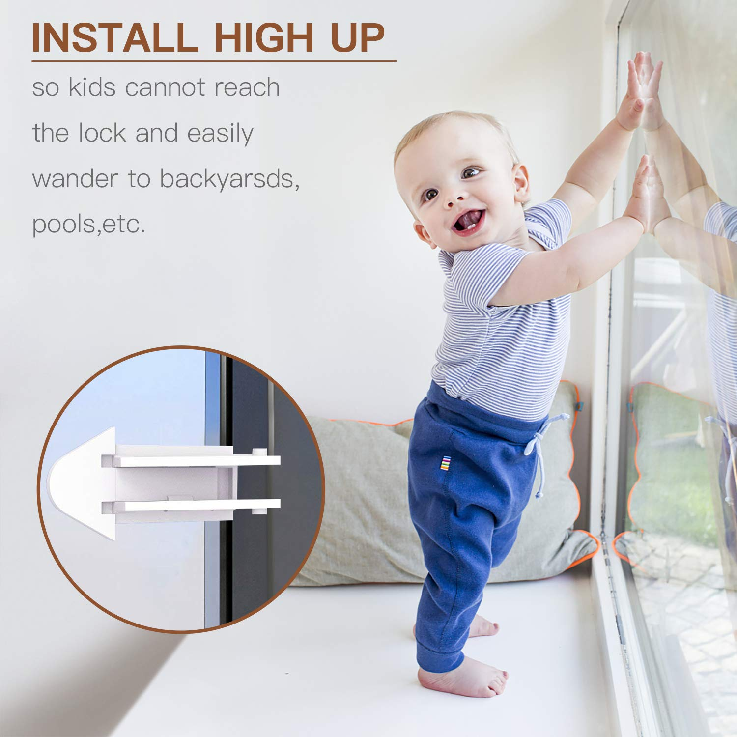Closets 4 Pack, White Windows Baby Proof Latch Doors Childproof Your Home with No Screws or Drills NANAPLUMS Sliding Door Lock for Child Safety Patio