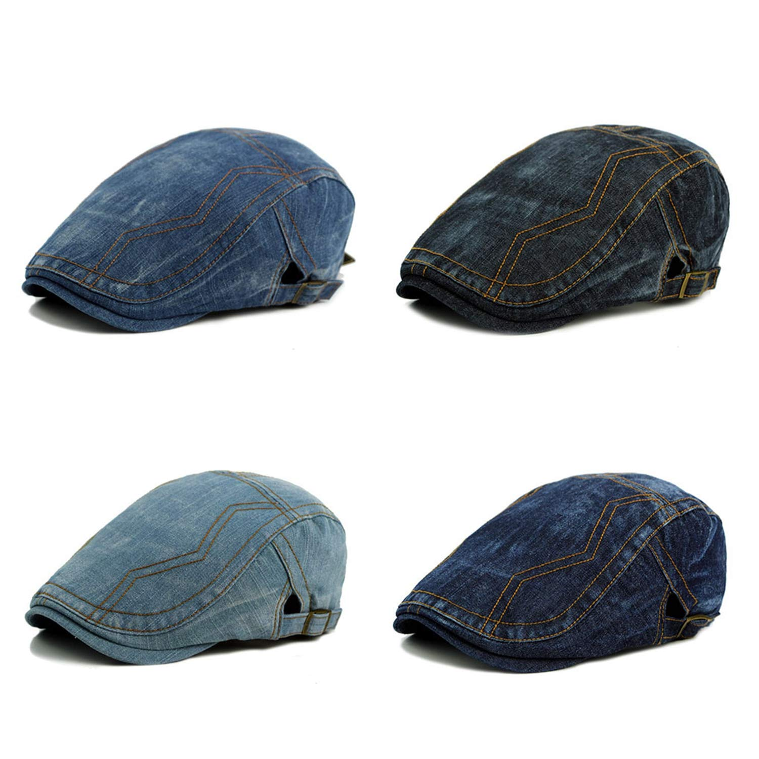 Willie Marlow Spring Summer Solid Color Beret Buckle Flat Caps Berets Hat for Womens Mens