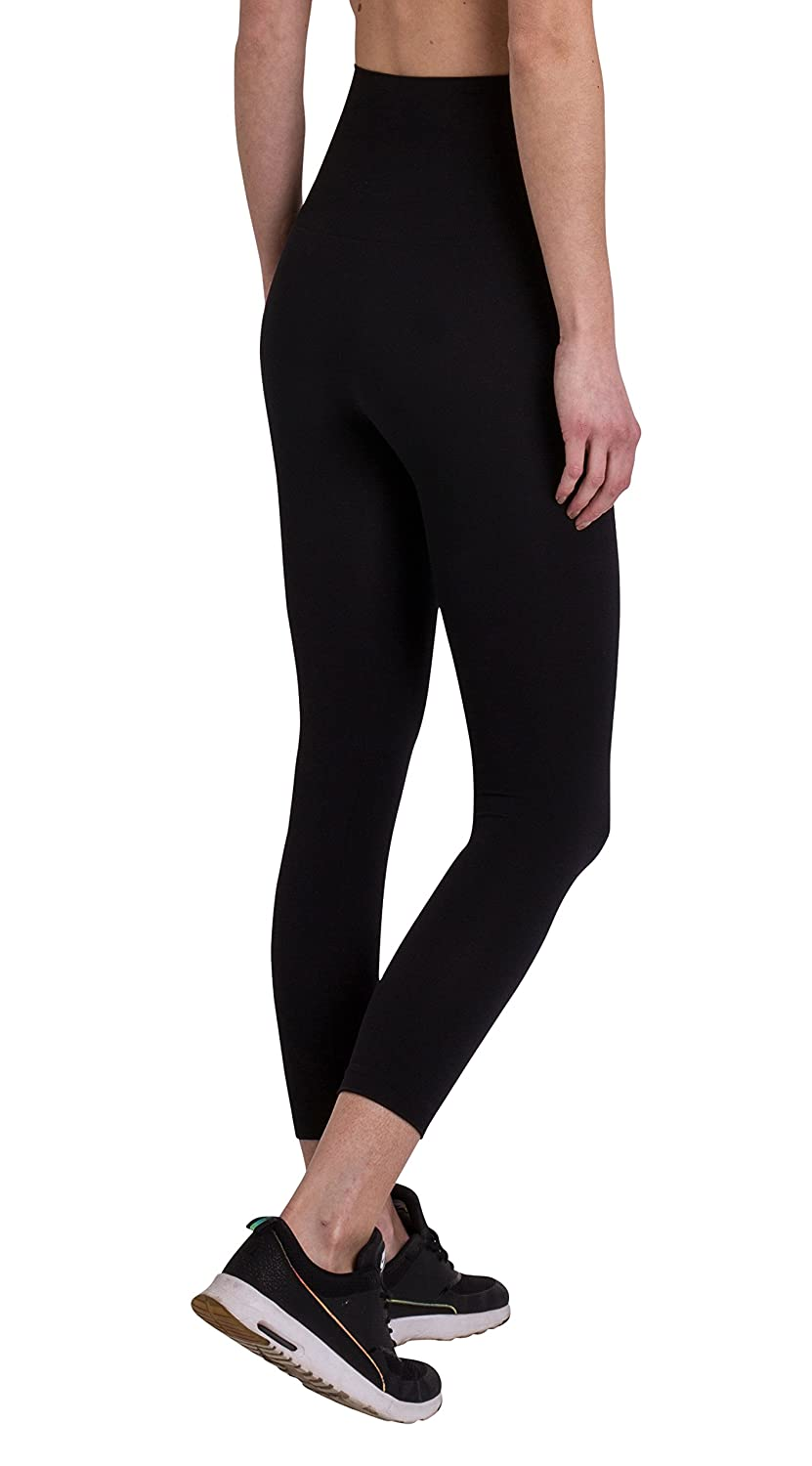 FM London Black High Waisted Shaper Leggings Donna