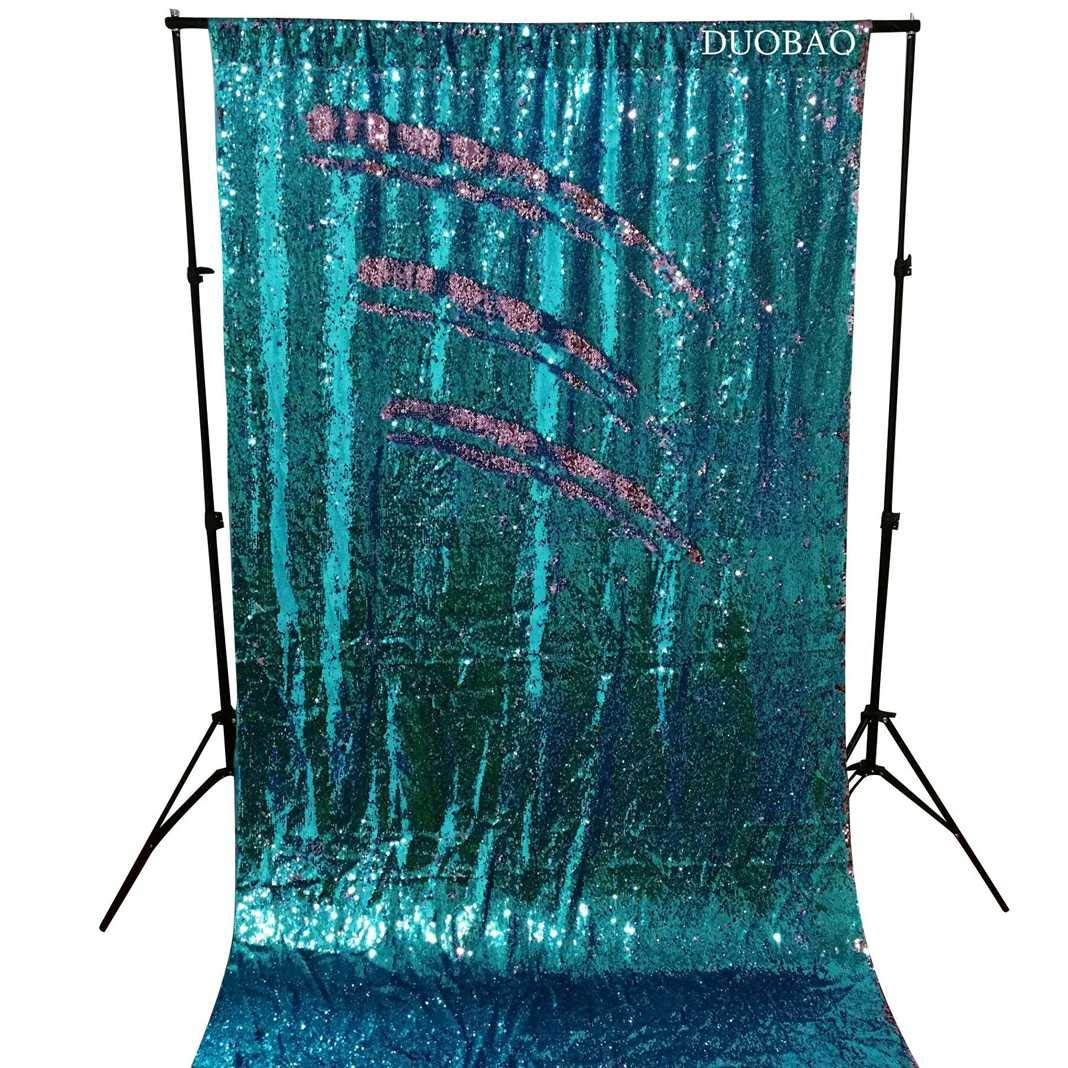 DUOBAO Sequin Backdrop 20FTx10FT Turquoise to Pink Glitter Backdrop Curtain Mermaid Reversible Sequin Curtains Beautiful Background by DUOBAO (Image #3)