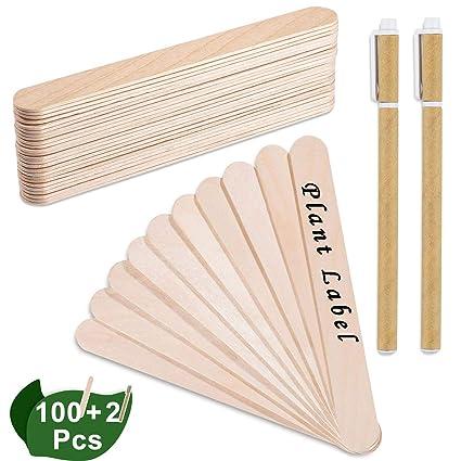 100 Stücke 15 cm Popsicle Sticks Holzstäbchen Natürliche Craft Sticks Pflanze...