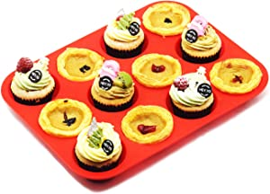 Silicone Muffin Pan–Regular 12 Cups Cupcake Baking Pan,Non Stick,Heat-resistant,Food Grade Silicone Baking Molds