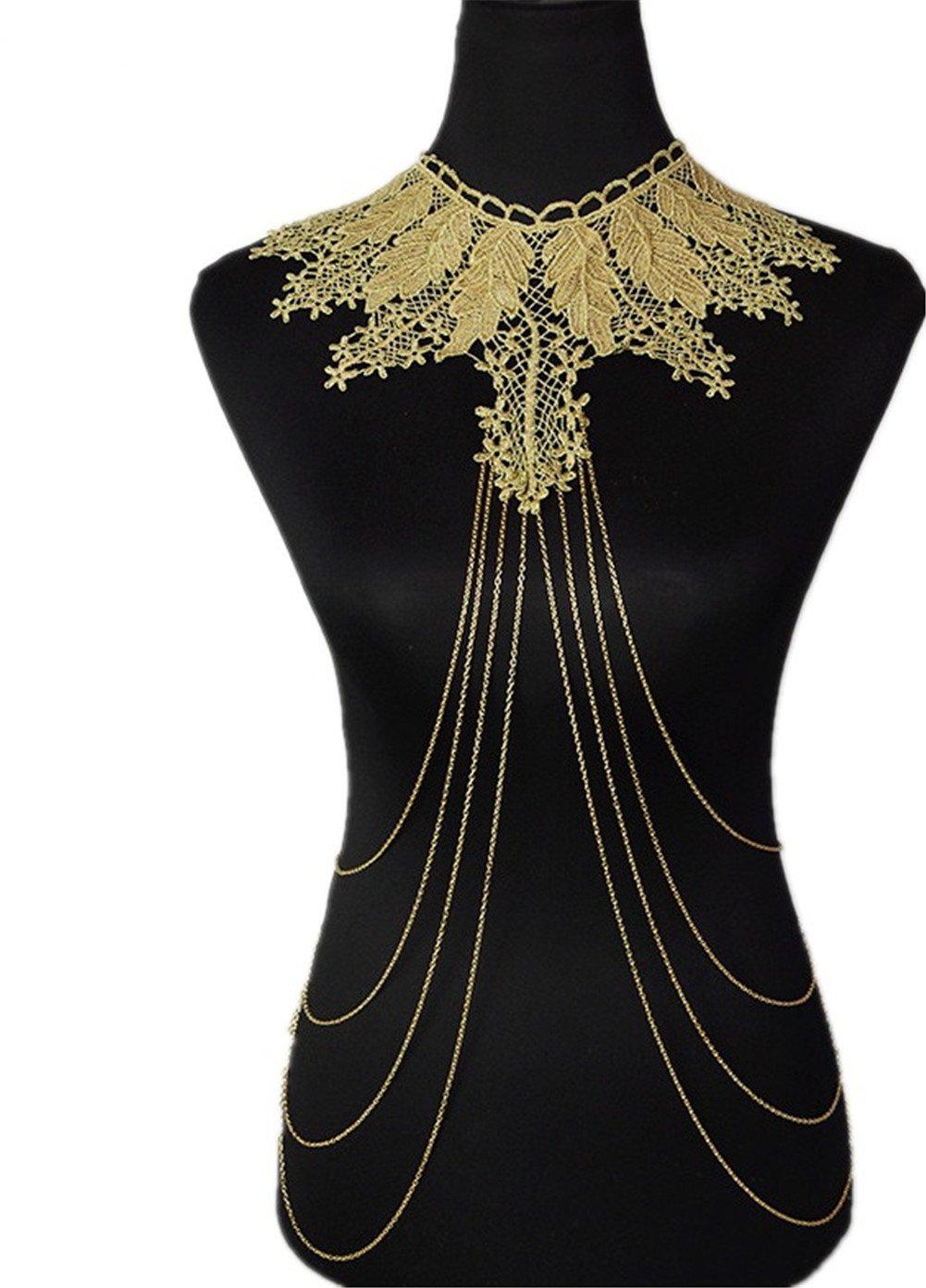 SIYWINA Gold Flower Leaves Lace Fine Chain Body Chain Bikini Summer New Arrival