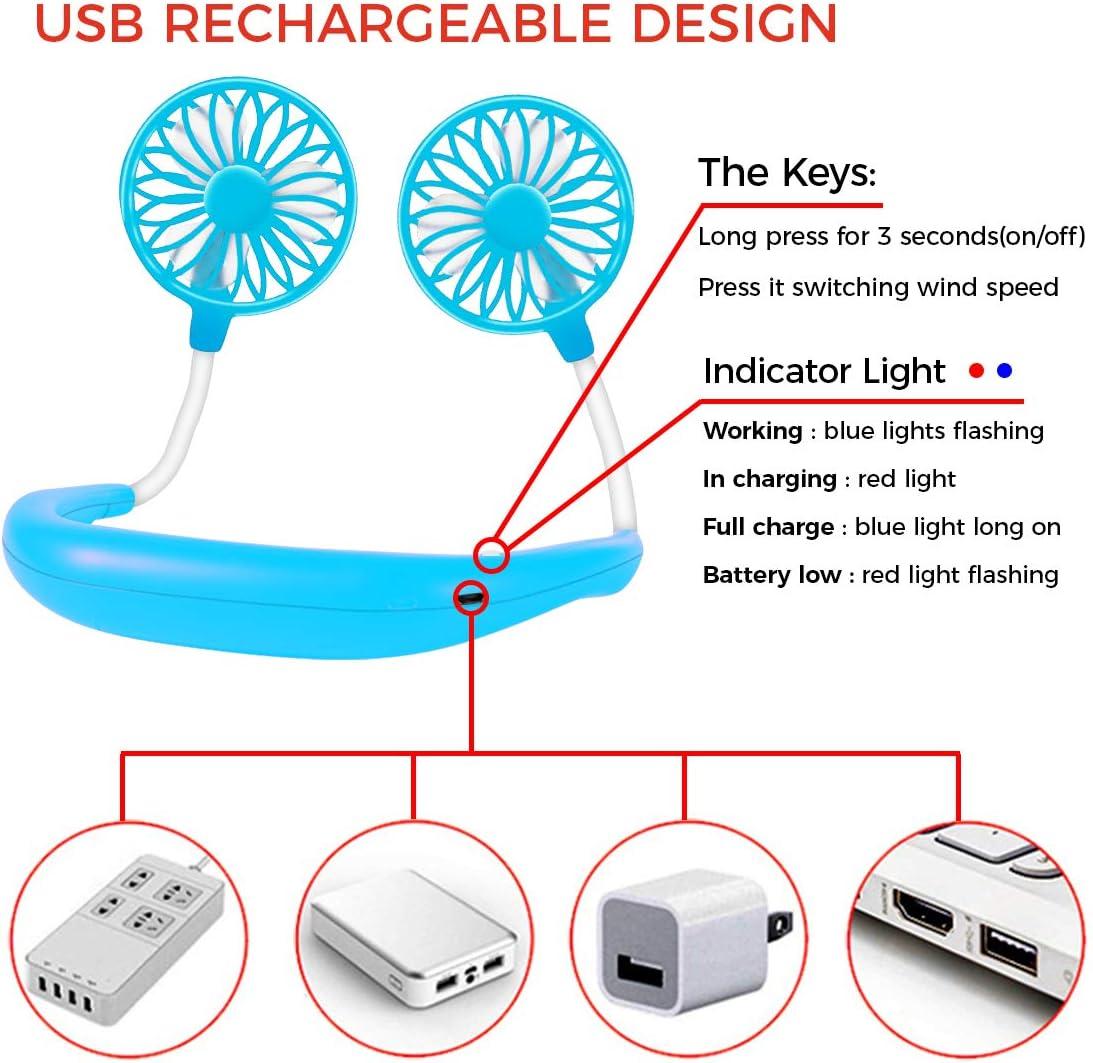 Blue USB Neckband Fan Rechargeable Hand Free Personal Fan with Dual Wind Head Fan Wearable Fan for Camping Traveling/…