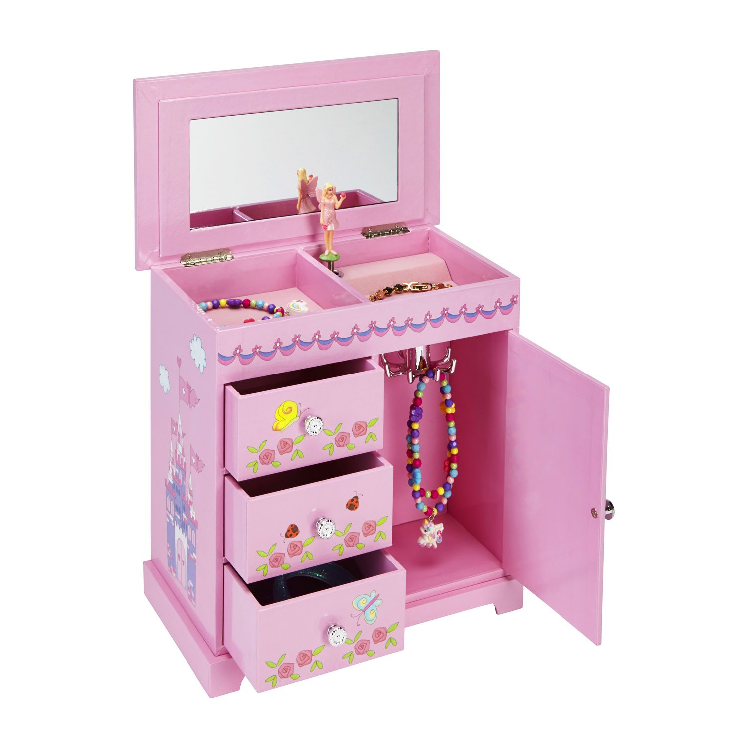 JewelKeeper Music Box with 3 Pullout Drawers, Fairy and Castle Design, Waltz of the Flowers Tune … by JewelKeeper (Image #2)