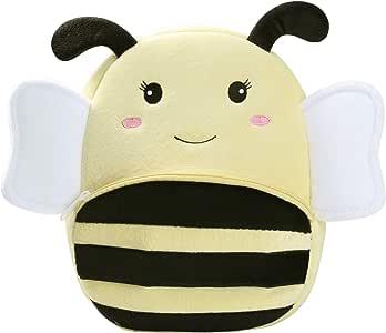 BAIGIO Mochila Infantil Kindergarten,Pequeñas Mochilas Bolsas Escolares de Dibujos Animados Animales para Niñas Primaria 3D Suave Mochila de Felpa Bebe Guarderia Preescolar para 2-4 Años (Abeja)
