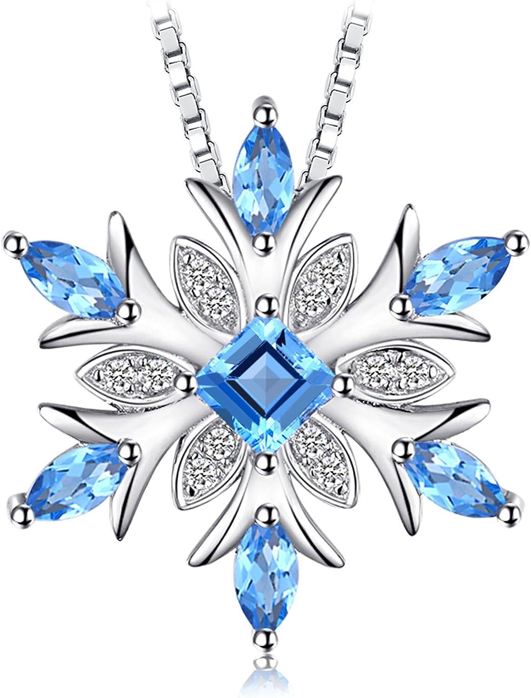 JewelryPalace Colgante Copo de nieve Topacio azul suizo Genuino Collar Plata de ley 925 cadena de caja 45cm