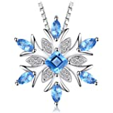 JewelryPalace Snowflake Genuine Swiss Blue Topaz Solid 925 Sterling Silver Pendant Necklace 18 Inches Box Chain for…