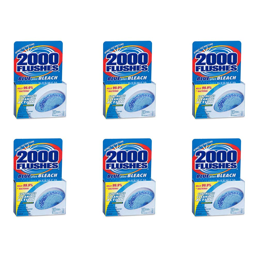2000 Flushes Blue Plus Bleach Automatic Toilet Bowl Cleaner, 3.5 OZ [Twin-Pack] (Pack of 6)
