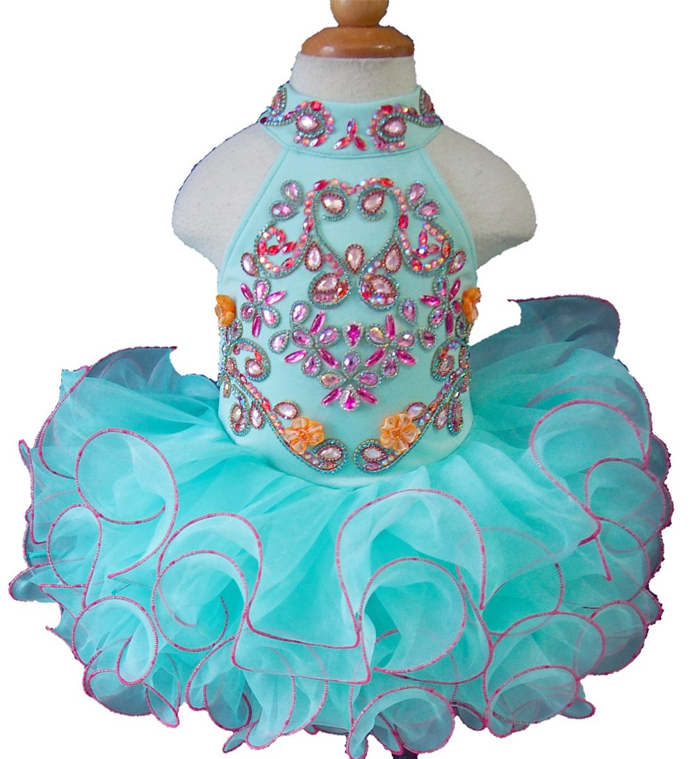 Jenniferwu Infant Toddler Baby Newborn Little Girl's Pageant Party Birthday Dress G284D Mint Size 12-18M