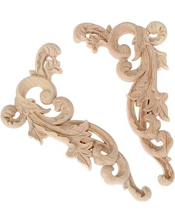 2pcs Esquina tallada en madera para la applique de artesanía de muebles sin dibujos19*11