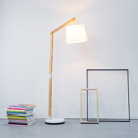 Moderna lampada da terra in legno con paralume in tessuto, 1 x E27 ...