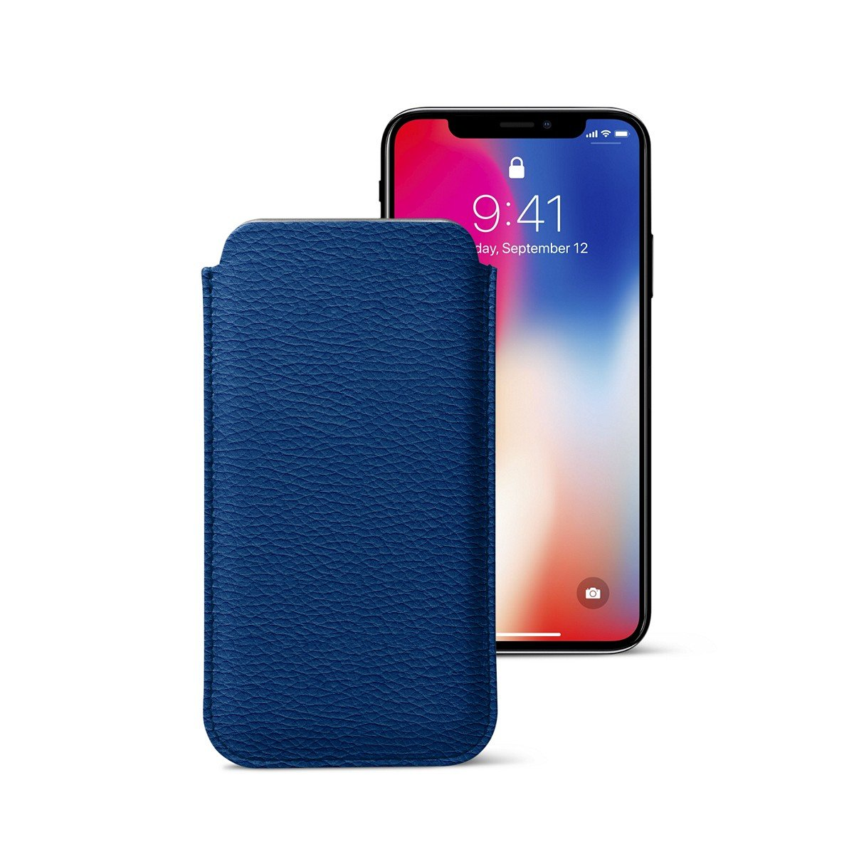 Lucrin - Classic Case for iPhone X - Royal Blue - Granulated Leather