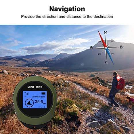 AUED Mini GPS Tracker para monta/ñismo en Viajes al Aire Libre Localizador GPS Personal Localizador de navegaci/ón Gu/ía del Receptor Anti-perdida Impermeable Port/átil Recargable