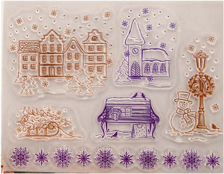 Winter Haus Xurgm Clear Stamps Set Wiederverwendbar - Silikon-Stempel Transparente Clear-Stamps