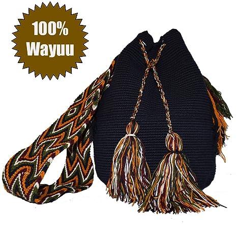 Bolso mochila wayuu hecho a mano por indígenas artesanal original 100%