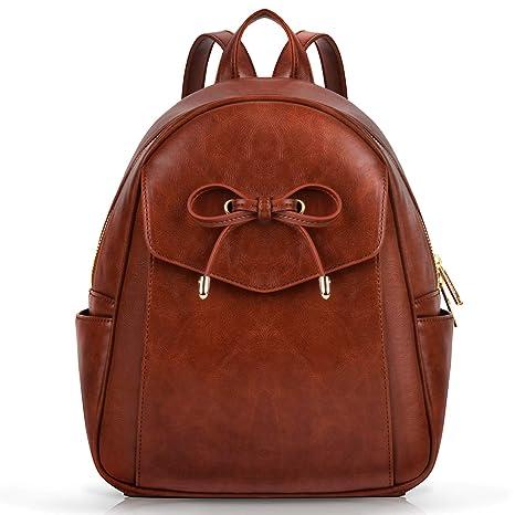 40d0d55c4599d Coofit Damen Rucksack Kleiner Rucksack Schwarz Mini Backpack lederrucksack  Schulrucksack Daypack Tasche Schulranzen (Braun)
