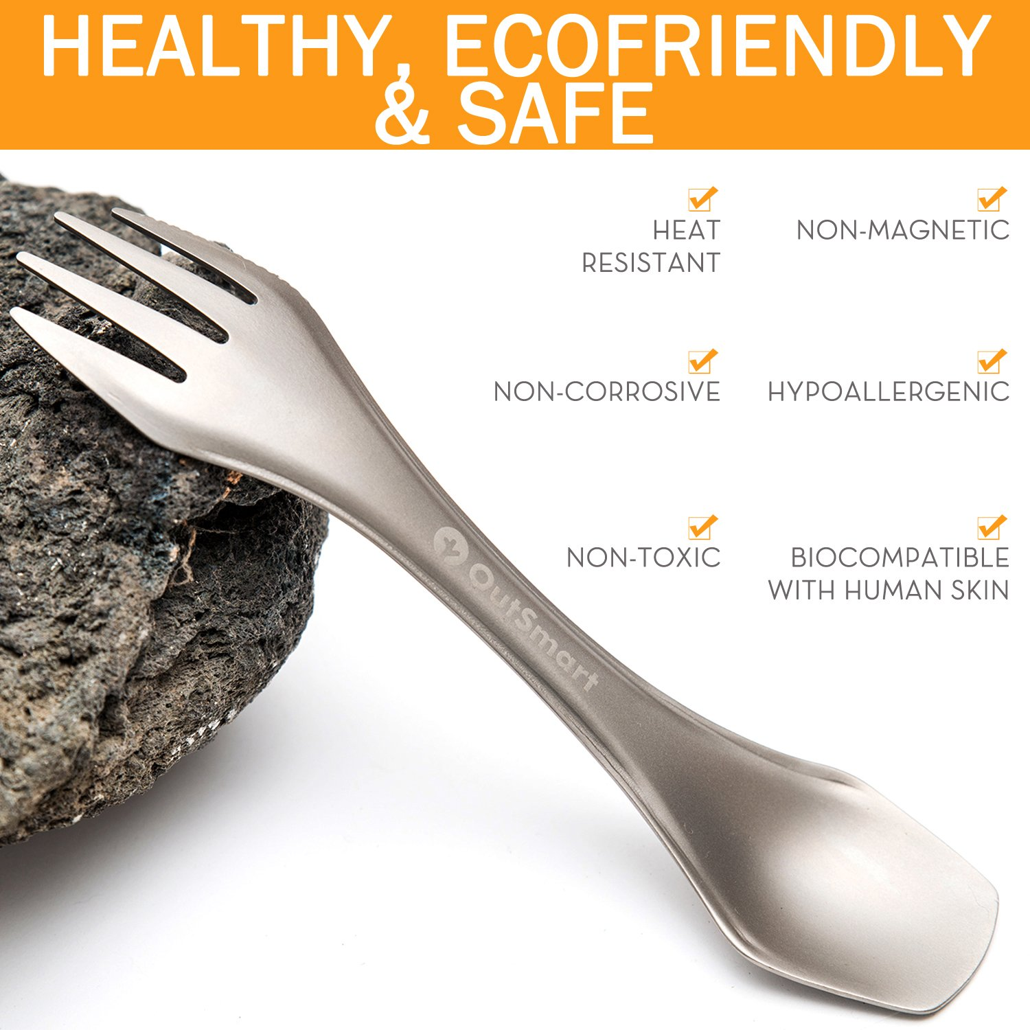 Feed Your Face Leave No Trace OutSmart 3 in 1 Titanium Spork Portable and Reusable Multi Tool for Backpacking and Camping