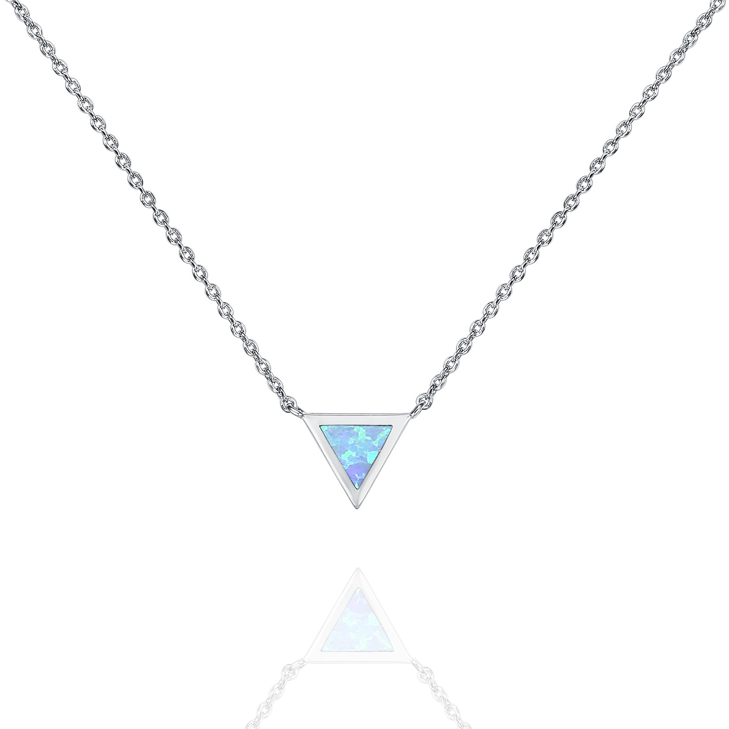 PAVOI 14K Yellow Gold Plated Triangle Bezel Set Blue Opal Necklace 16-18
