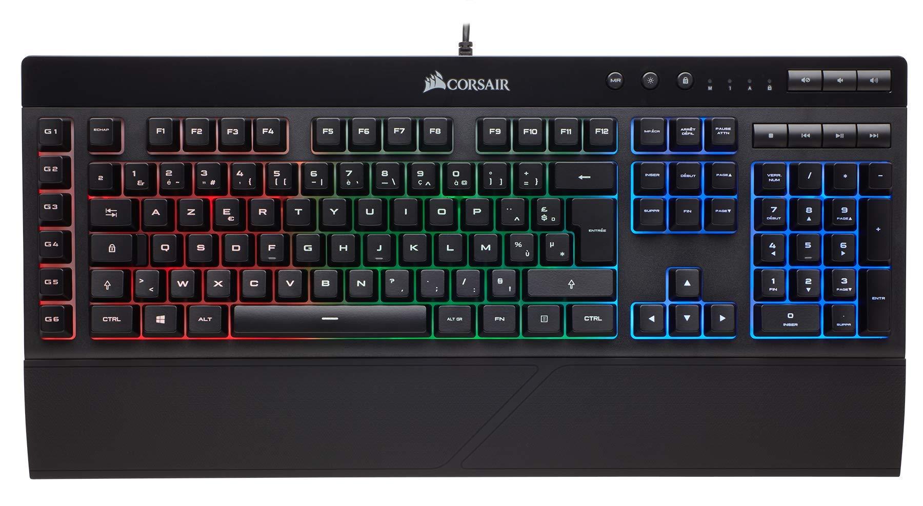 Corsair K55 Clavier Gaming (Rétro-Éclairage RGB Multicolore, AZERTY) Noir product image