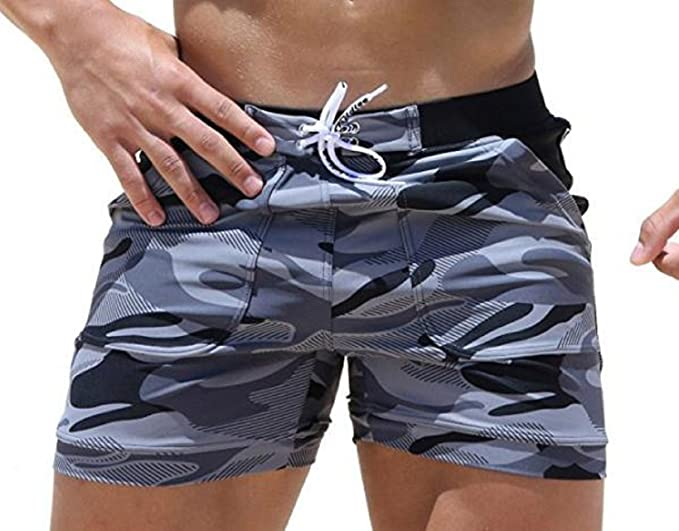 4a03244a53 Image Unavailable. Image not available for. Color: osamusi Swimwear Men  Basic Long Swimming Trunk Surf Camo ...