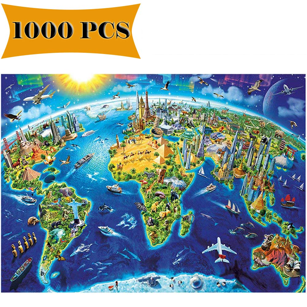 Amazon.com: 1000 Pieces Puzzles World Map Jigsaw Puzzles Artwork Art ...