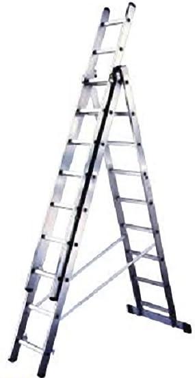 Escalera Aluminio triple 3 x 9 peldaños – Convertible Ed extensible: Amazon.es: Bricolaje y herramientas