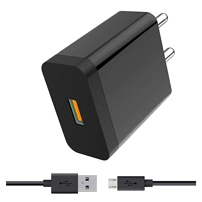 StuffHoods Wall Mobile Fast Android Charger with 1 Meter Micro USB Charging Data Cable  2.4 A, Black
