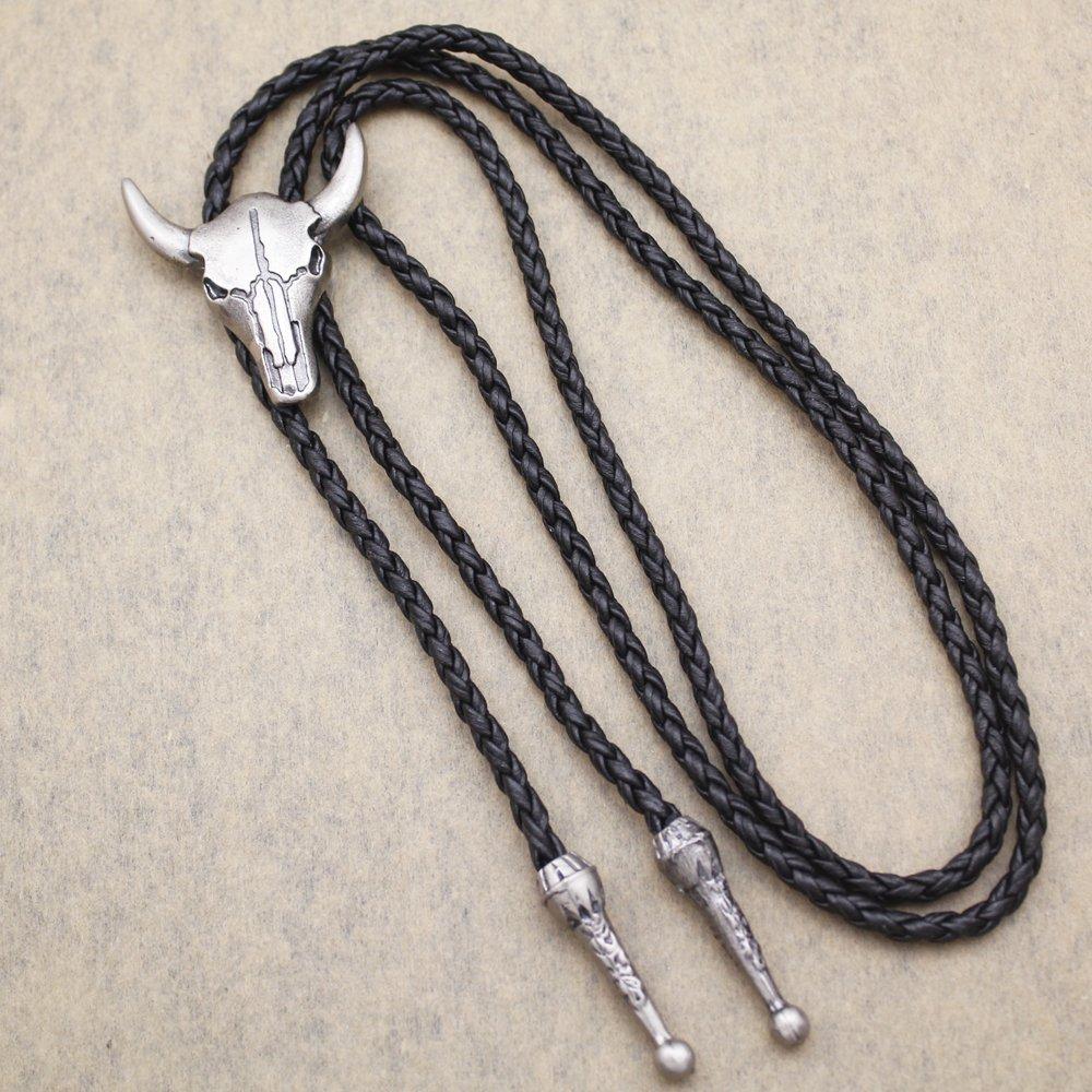 Vintage Silver Tone Q&Q Fashion Western Texas Longhorn Buffalo Steer Cow Skull Leather Rodeo Bolo Tie Necktie by Q&Q Fashion (Image #4)