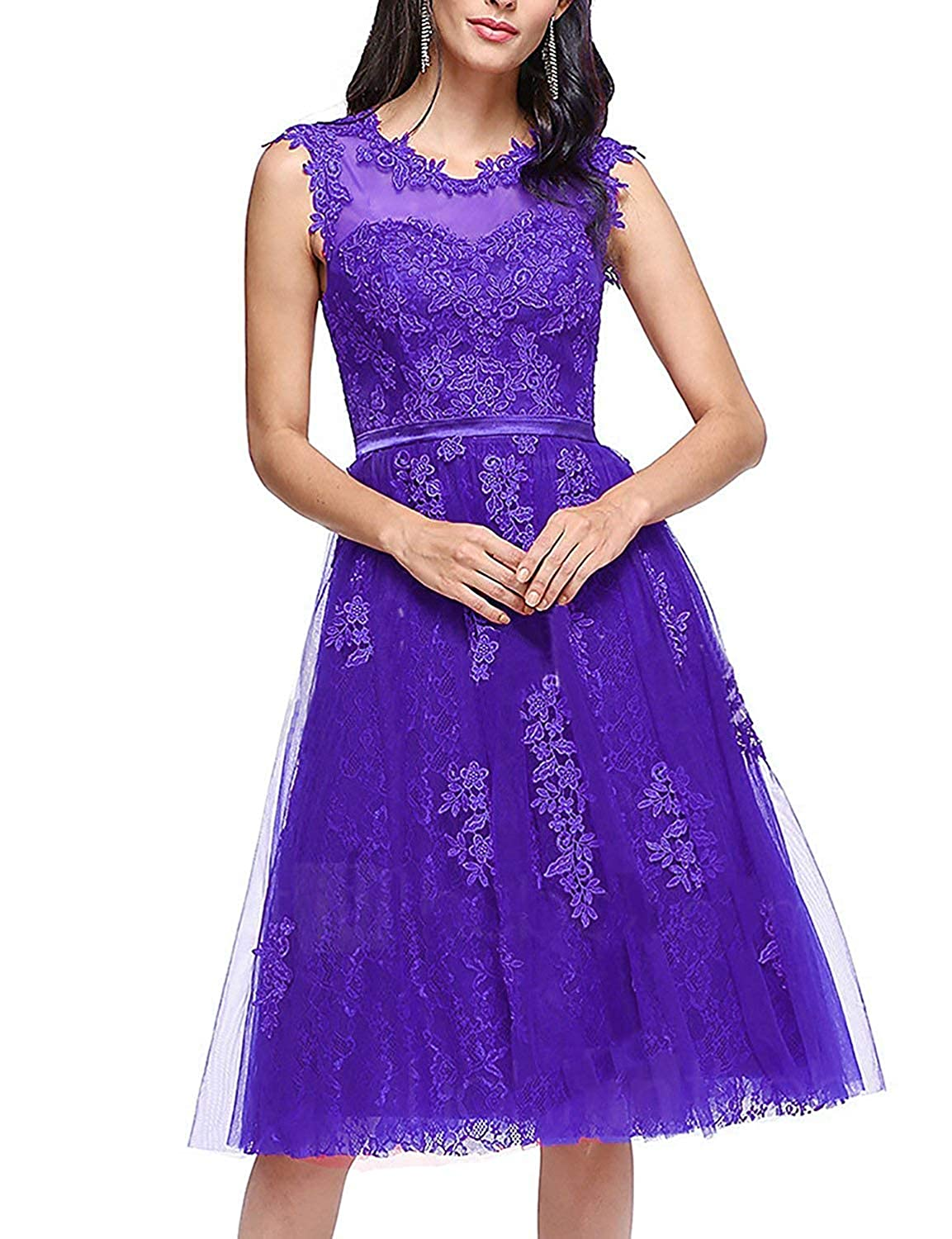 Purple ASBridal Bridesmaid Dresses Short Homecoming Dress Lace Cocktail Party Gowns Prom Gown Knee Length