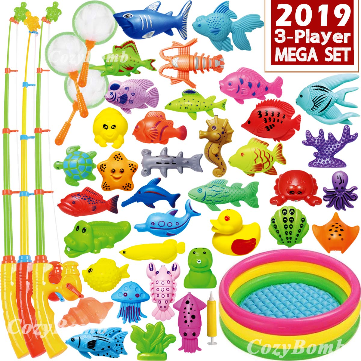 CozyBomB Magnetic Fishing Game Toys Mega Set - 57 Pcs Summer Outdoor Backyard Water Toy with Kiddie Pool, Floating Pole Rod Net Fish - Kids Toddler Education Teaching and Learning (Mega) by CozyBomB