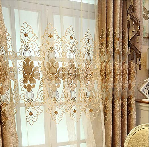 Brown European Embroidery Sheer Curtains 96 Inches Length