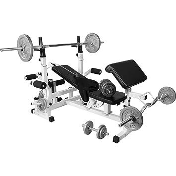 Banc De Musculation Universel Gs005 Set Haltères Disques En Fonte
