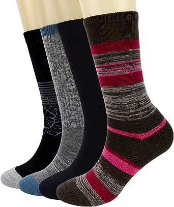 PlusAg 4P Pack Women's Merino Wool Cushion Hiking Trekking Crew Socks