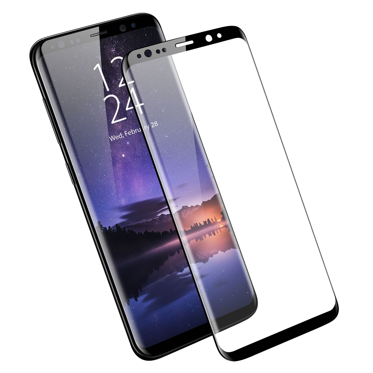 Samsung Galaxy S9 Plus Screen Protector - Full Cover/Edge to Edge - Tempered Glass - Edge Cover - Olixar - Anti Scratch, 9H Hardness, Tough, Bubble Free Anti Fingerprint Protection - Black