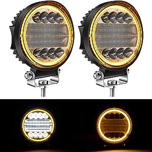 """Yorkim 4.5"""" LED Pods, 2-Pack Off Road LED Light Bar Spot Flood Combo Round Amber Angel Eye-Shape Work Light Fog Lights Driving Lights for Truck Jeep SUV ATV UTV Pickup, Pack of 2"""