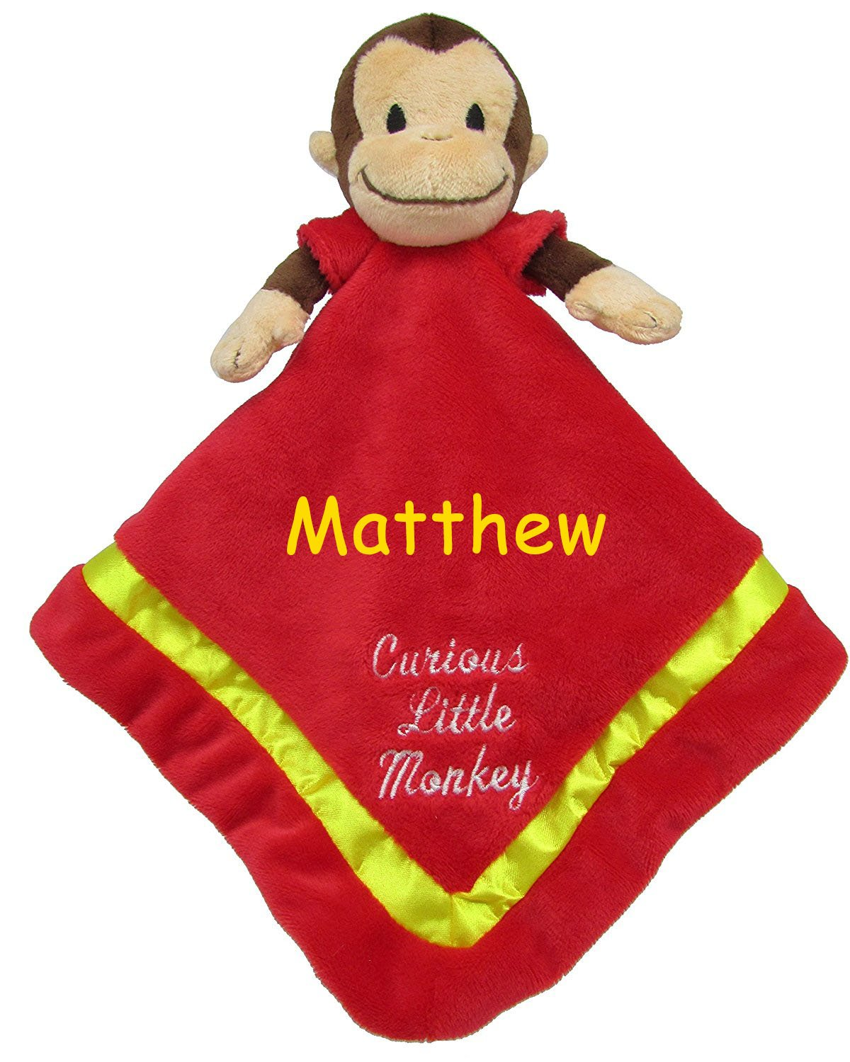 18 Inches Kids Preferred Personalized Curious George Curious Little Monkey Red and Yellow Snuggler Baby Blanket with Name Embroidery