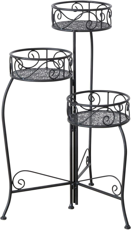 CasaJame 3 x Maceteros con Estructura Metálica en Forma de Escalera Shabby Chic Vintage 54x35x74cm: Amazon.es: Jardín