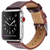For Apple Watch Band, 42mm Marge Plus Genuine Leather iwatch Strap Replacement Band with Stainless Metal Clasp for Apple Watch Series 3 Series 2 Series 1 Sport and Edition, Dark Brown