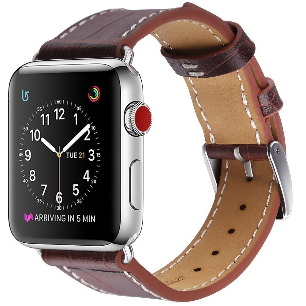MARGE PLUS Compatible with Apple Watch Band, 42mm Genuine Leather Watch Strap Replacement Band with Stainless Clasp Compatible Apple Watch Series 3 Series 2 Series 1 Sport and Edition, Dark Brown