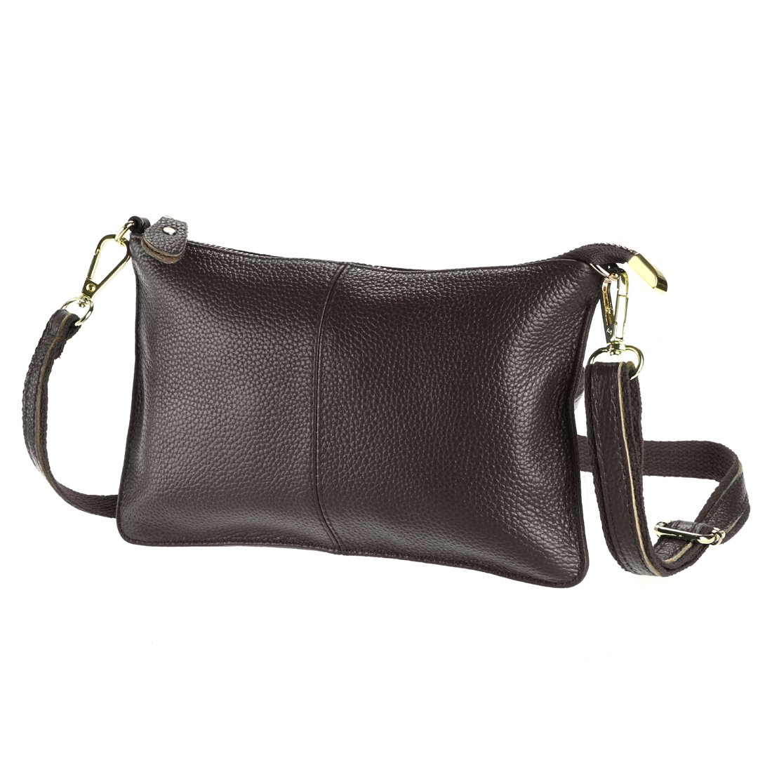 SEALINF Women's Cowhide Leather Clutch Handbag Small Shoulder Bag Purse (Coffee)
