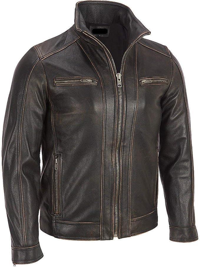 Chaqueta de Superior Leather Garments, con remaches de color negro, cuero vacuno auténtico, costura visible, para hombre