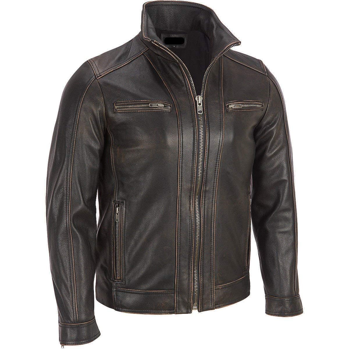 TALLA L. Chaqueta de Superior Leather Garments, con remaches de color negro, cuero vacuno auténtico, costura visible, para hombre