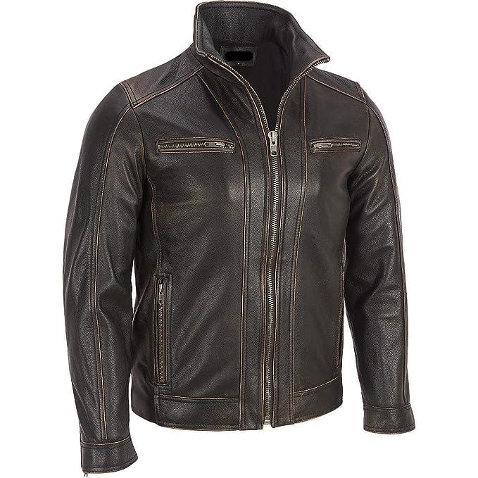 Superior Leather Garments schwarze Herren Lederjacke, verblichene Kanten, echtes Rindsleder