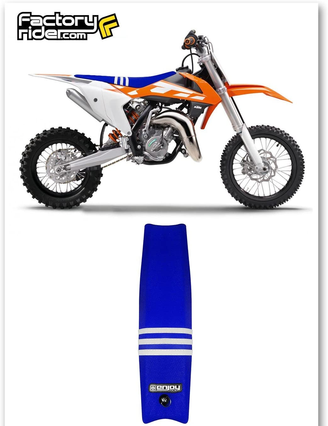 Team Issue TLD Enjoy MFG Seat Cover Compatible Fit for 2009-2015 KTM SX 65 All Blue//Three White Stripes Seat Cover