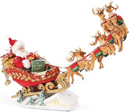 Department 56 Possible Dreams Santa Christmas Traditions Anniversary Edition Dash Away Personalizable Sound Figurine, 14.5 Inch, Multicolor