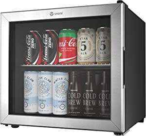 Vremi 1.7 Cubic Feet Beverage Cooler - Double Layered Glass Door Mini Fridge for Can Drinks - with Adjustable Shelves and User Friendly Temperature Knob - Modern Cooling Machine for Home Office Dorm