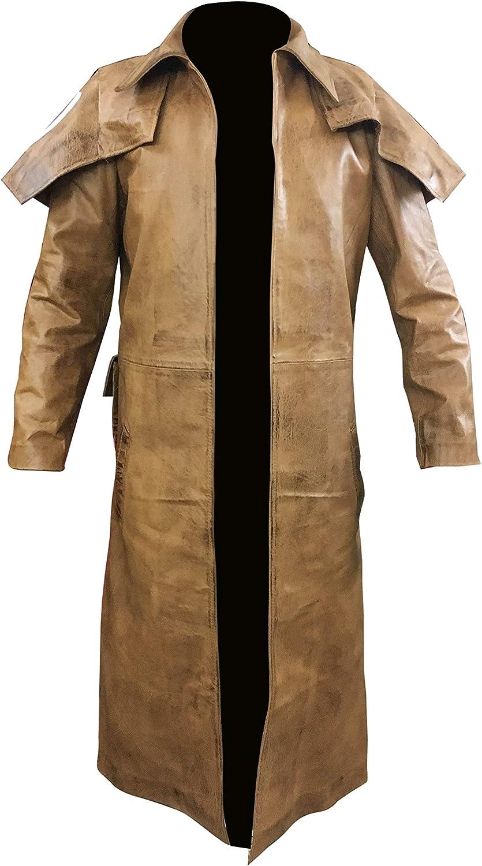 So Shway Mens Leather Trench Coat for Men Long Jacket Vintage Distressed Brown Coat