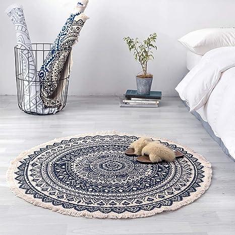 Amazon.com: Moderna alfombra redonda de algodón y lino ...