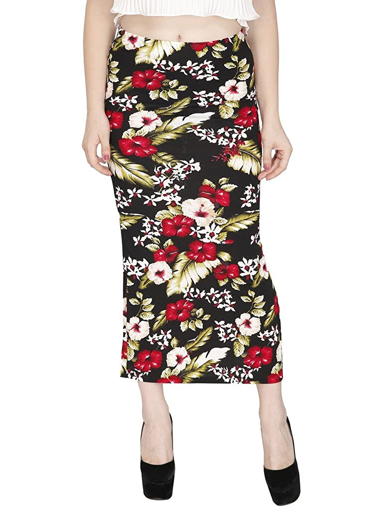 ac19f58e1 SVT ADA COLLECTIONS Black Cotton Lycra Printed All TIME Skirt  51102_Black_Medium: Amazon.in: Clothing & Accessories